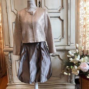 MILLY NY Metallic Silver Pale Rose Jacket, 8 NWOT